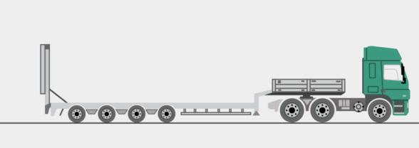 Semitieflader mit Auffahrrampen, 3 und 4 Achsen, ausziehbar