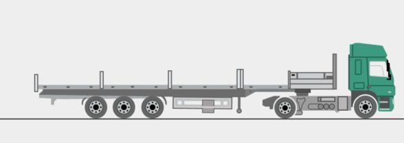 Plateauauflieger mit Rungen, 13,6 m lang