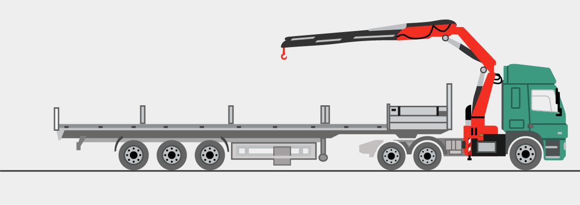Sattelzugmaschine mit Ladekran und Sattelauflieger