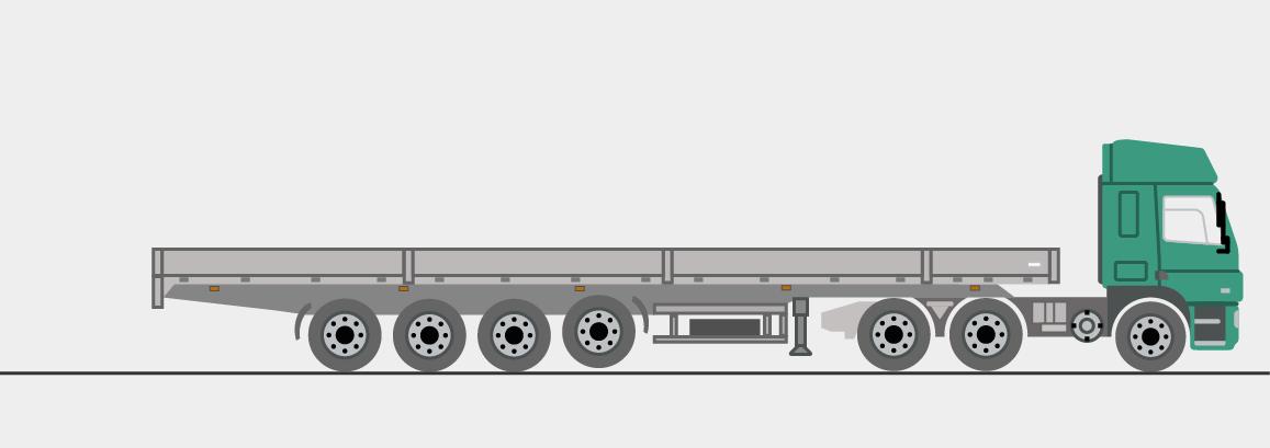 Auflieger mit Coilmulde, 4 Achsen, 13,6 m lang